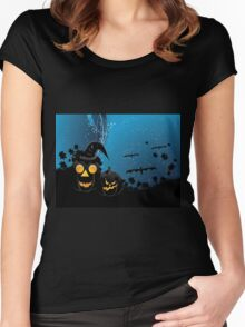 Halloween party background with pumpkins 3 Women's Fitted Scoop T-Shirt
