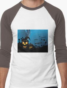 Halloween party background with pumpkins 3 Men's Baseball ¾ T-Shirt