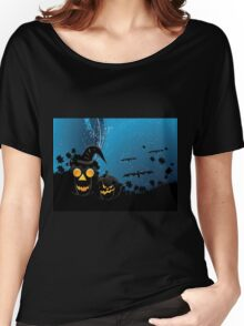 Halloween party background with pumpkins 3 Women's Relaxed Fit T-Shirt