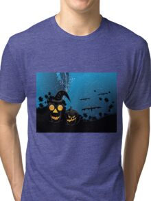 Halloween party background with pumpkins 3 Tri-blend T-Shirt