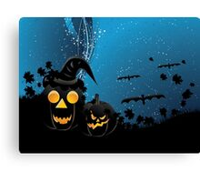 Halloween party background with pumpkins 3 Canvas Print