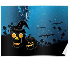 Halloween party background with pumpkins 3 Poster