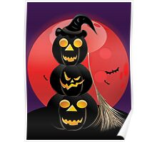 Halloween party background with pumpkins 5 Poster