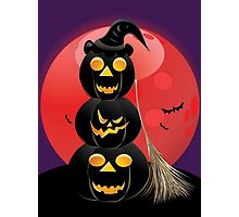 Halloween party background with pumpkins 5 Photographic Print