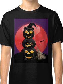 Halloween party background with pumpkins 5 Classic T-Shirt