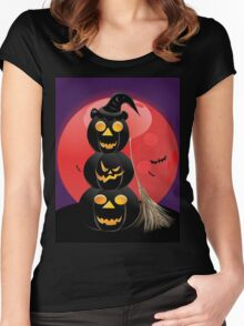 Halloween party background with pumpkins 5 Women's Fitted Scoop T-Shirt