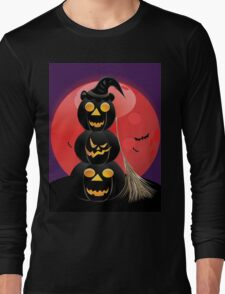 Halloween party background with pumpkins 5 Long Sleeve T-Shirt