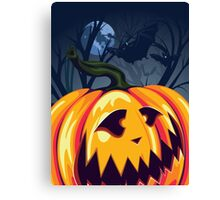 Halloween Pumpkin in the Forest 3 Canvas Print