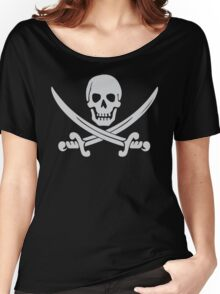 Pirate Logo (White) Women's Relaxed Fit T-Shirt