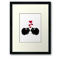 Hamster love red hearts Framed Print