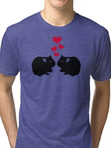 Hamster love red hearts Tri-blend T-Shirt
