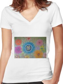 A flourish of Flowers. Women's Fitted V-Neck T-Shirt