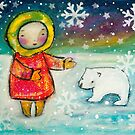 Girl and Polar Bear by AnnaBaria