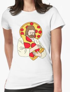 Pizza Jesus Womens Fitted T-Shirt