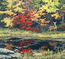 Autumn Pond Deer by Ze Zhao