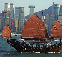 Jonk in honk kong bay - China by chrisfx