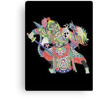 china warrior and dragon black Canvas Print