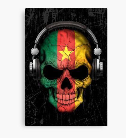 Dj Skull with Cameroon Flag Canvas Print