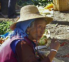 Old woman eating noddles - China by chrisfx