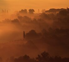 San Giminiano in the Morning Mists by weberwanjek   artography