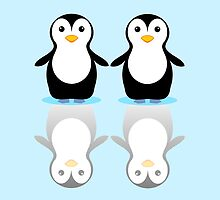 PENGUIN PAIR ON ICE by Jean Gregory  Evans