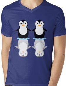 PENGUIN PAIR ON ICE Mens V-Neck T-Shirt