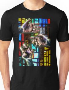 Three Hands on Stain Glass Unisex T-Shirt