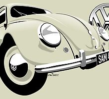 Personalized  Type 1 VW Beetle by car2oonz