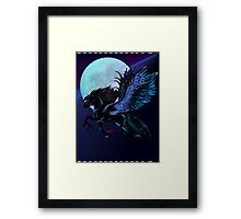 Black Pegasus and Blue Moon Framed Print