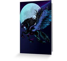 Black Pegasus and Blue Moon Greeting Card