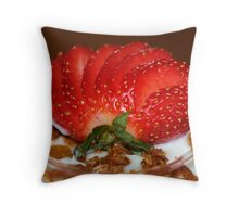 Almond-granola parfait Throw Pillow