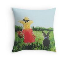 Collecting wild Flowers with Scottie Dog Throw Pillow