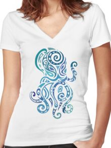 Octopus. Women's Fitted V-Neck T-Shirt