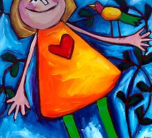 LIZZIE  AND  THE  LOVEBIRD by ART PRINTS ONLINE         by artist SARA  CATENA