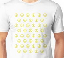 Yellow Peace Sign Pattern Unisex T-Shirt