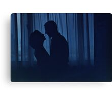 Blue silhouette couple kissing analogue film photograph Canvas Print