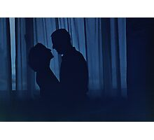 Blue silhouette couple kissing analogue film photograph Photographic Print