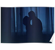 Blue silhouette couple kissing analogue film photograph Poster
