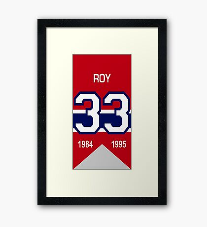 Patrick Roy - retired jersey #33 Framed Print