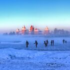 Ice Skaters In Front Of A Castle by pixog