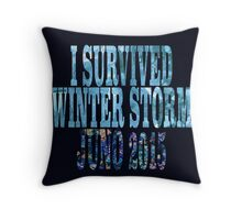 I Survived Winter Storm Juno 2015 Throw Pillow