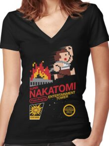 Super Nakatomi Tower Women's Fitted V-Neck T-Shirt