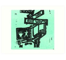 black and aqua street signs Art Print