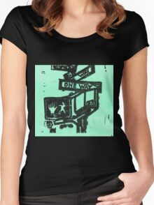 black and aqua street signs Women's Fitted Scoop T-Shirt
