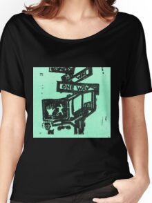 black and aqua street signs Women's Relaxed Fit T-Shirt