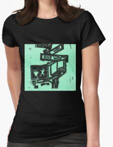 black and aqua street signs Womens Fitted T-Shirt