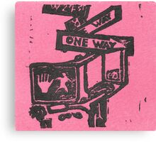 black and pink street signs Canvas Print
