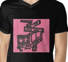 black and pink street signs Mens V-Neck T-Shirt