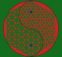 Red Flower of Life Yin & Yang  by John Girvan
