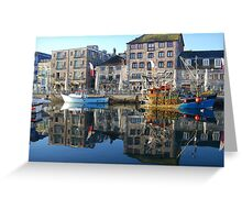 Plymouth Barbican Harbour and Fishing Boats Greeting Card